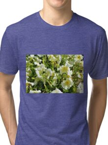White flowers and green leaves bush in the garden. Tri-blend T-Shirt