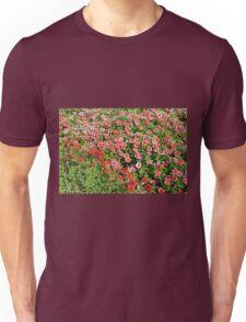 Field of beautiful red flowers. Unisex T-Shirt