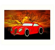 A Butch Red Muscle Car Art Print