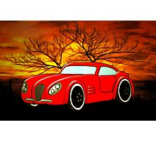 A Butch Red Muscle Car Photographic Print