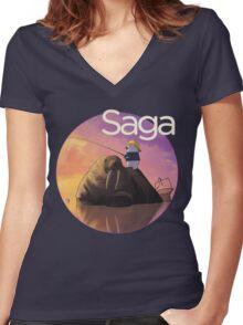 Saga Comic Ghus Women's Fitted V-Neck T-Shirt