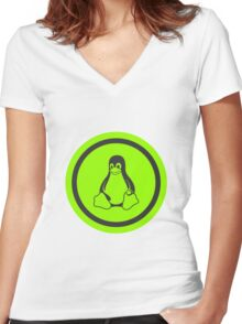 Tux Green Women's Fitted V-Neck T-Shirt