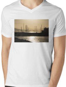 A Necklace of Old World Lights - Golden Morning at Naples Marina  Mens V-Neck T-Shirt
