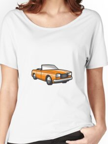 Vintage Cabriolet Top-Down Car Isolated Retro Women's Relaxed Fit T-Shirt