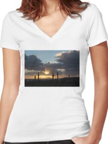 One Very Italian Sunset - Five Cypress Trees on the Shore Women's Fitted V-Neck T-Shirt
