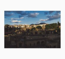 Herculaneum - the Old Town, the New Town and Mount Vesuvius Volcano Looming on Top One Piece - Short Sleeve