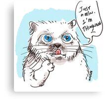thinking white kitty Canvas Print