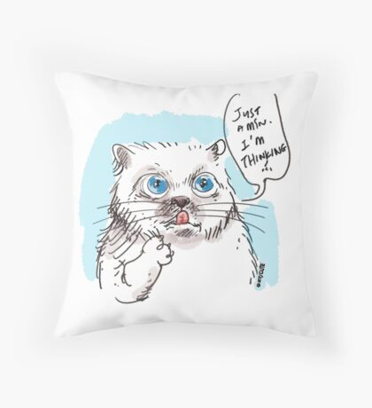 thinking white kitty Throw Pillow