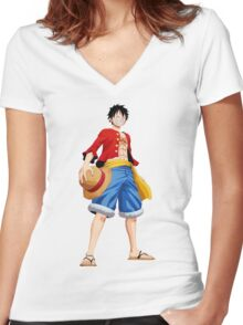 ONE PIECE - CAPTAIN LUFFY Women's Fitted V-Neck T-Shirt