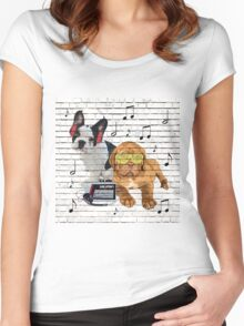 Musical Notes French Bulldog & Dogue De Bordeaux Women's Fitted Scoop T-Shirt
