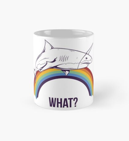 """Unicorn Rainbow Shark """"What?"""" Mug"""