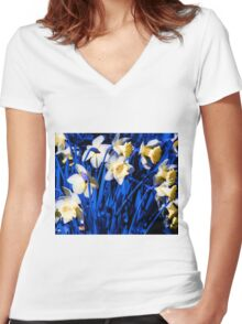 Blue Daffodils. Women's Fitted V-Neck T-Shirt