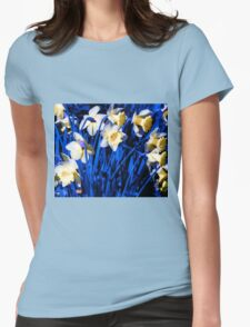 Blue Daffodils. Womens Fitted T-Shirt