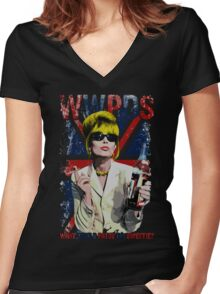 What Would Patsy Do, Sweetie? - Black Women's Fitted V-Neck T-Shirt