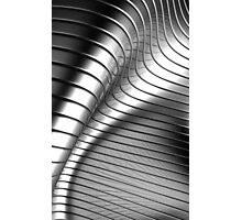 Curved Metal Apple Silver Gold,  Photographic Print