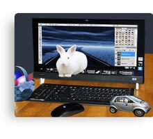 ❤‿❤ COMPUTER BUNNY HOPPING OUT TO SAY HAPPY EASTER TO ALL❤‿❤ Canvas Print