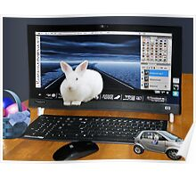 ❤‿❤ COMPUTER BUNNY HOPPING OUT TO SAY HAPPY EASTER TO ALL❤‿❤ Poster