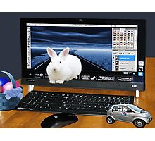 ❤‿❤ COMPUTER BUNNY HOPPING OUT TO SAY HAPPY EASTER TO ALL❤‿❤ Photographic Print