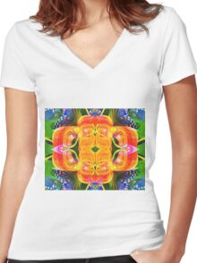Tropical flowers Women's Fitted V-Neck T-Shirt