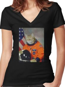 Astronaut Cat Kitten Funny Space Women's Fitted V-Neck T-Shirt