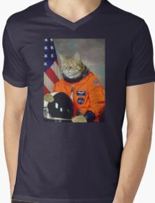 Astronaut Cat Kitten Funny Space Mens V-Neck T-Shirt