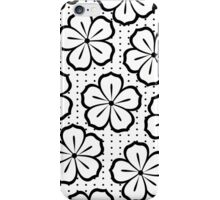 Modern Black and White Flowers and Polka Dots iPhone Case/Skin