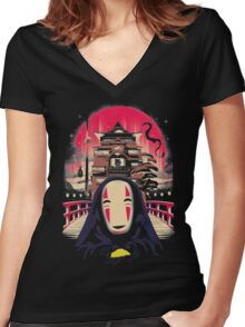 No Face Women's Fitted V-Neck T-Shirt