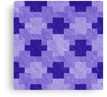 Blue Blocks Pixel Pattern Canvas Print