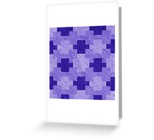 Blue Blocks Pixel Pattern Greeting Card