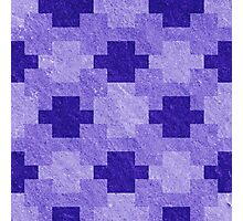 Blue Blocks Pixel Pattern Photographic Print