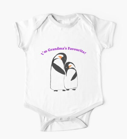 Grandma's Favourite Baby Penguin One Piece - Short Sleeve