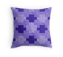 Blue Blocks Pixel Pattern Throw Pillow