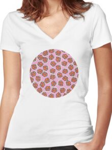 Flowers (pink) Women's Fitted V-Neck T-Shirt