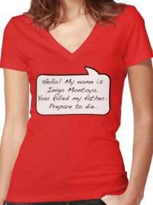 Hello, my name is inigo montoya you killed my father prepare to die - COMIC Women's Fitted V-Neck T-Shirt
