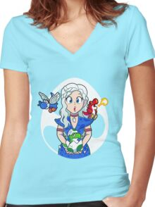 Prehistoric Princess Peach Women's Fitted V-Neck T-Shirt