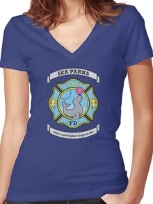 Sea Parks Fire Department Women's Fitted V-Neck T-Shirt