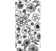 White and Black Hand Drawn Flowers and Foliage iPhone Case/Skin