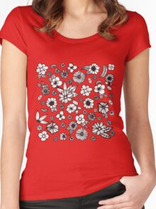 White and Black Hand Drawn Flowers and Foliage Women's Fitted Scoop T-Shirt
