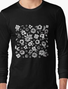 White and Black Hand Drawn Flowers and Foliage Long Sleeve T-Shirt
