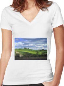 Tuscany landscape Women's Fitted V-Neck T-Shirt