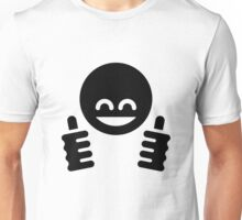 Thumb Up Emoticon Smiley (Black) Unisex T-Shirt
