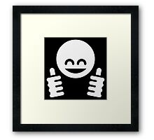 Thumb Up Emoticon Smiley (White) Framed Print