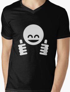 Thumb Up Emoticon Smiley (White) Mens V-Neck T-Shirt