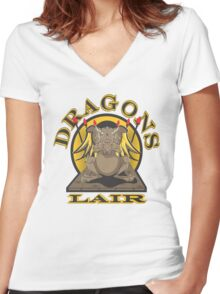 Dragons Lair  Women's Fitted V-Neck T-Shirt