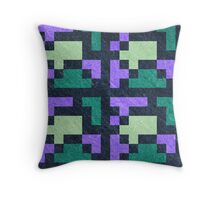 Violet Green Pixel Blocks Throw Pillow