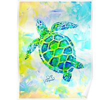 Sea Turtle with background by Jan Marvin Poster