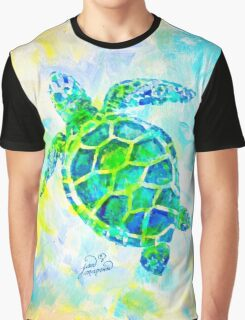 Sea Turtle with background by Jan Marvin Graphic T-Shirt