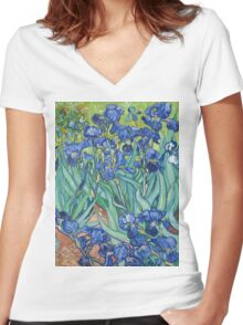 Vincent van Gogh - Irises Women's Fitted V-Neck T-Shirt