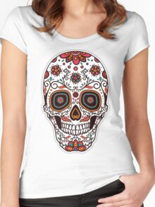 Skull floral 3 Women's Fitted Scoop T-Shirt