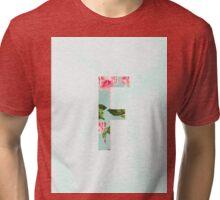 Floral Letter F - Letter Collection Tri-blend T-Shirt